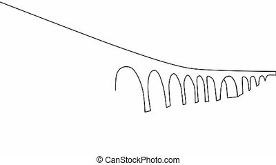 Self-drawing a simple animation of one continuous drawing of one line of a viaduct bridge.