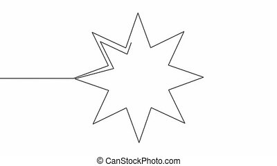 Self-drawing a simple animation of one continuous drawing of one line of an eight-pointed star.