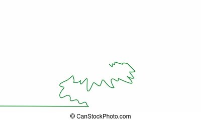 Self, drawing, animation continuous single drawn one line green christmas tree drawn by hand picture silhouette. Line art. winter holiday christmas doodle
