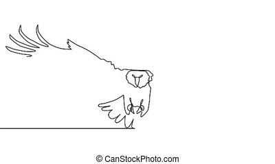 Self drawing animation of continuous one single line drawing of silhouette of a bird eagle.