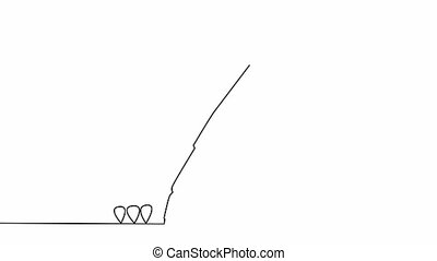 Self drawing animation of continuous thin line business icon...