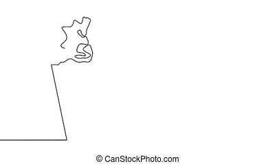Self drawing animation of one line drawing of isolated object - ice cream cone