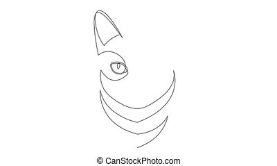 Self drawing simple animation of single continuous one line drawing kitten pet cat animal head. Drawing by hand video