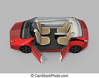 Self-driving car cutaway image. Left doors opened and front...