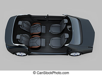 Self-driving car cutaway image. Right doors opened and front seats turned backward in meeting mode. The rear seats have gorgeous reclining massage function. 3D rendering image.