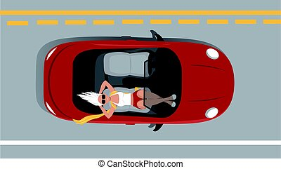 Woman relaxing on on a passenger seat of a moving self-driving car, EPS 8 vector illustration