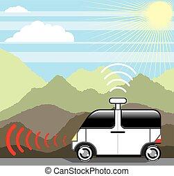 self-driving, carro., driverless