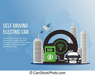 Self driving electronic car concept illustration vector design template