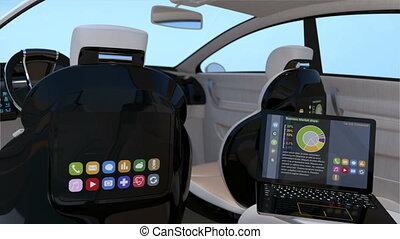 self-driving, suv, intérieur, concept