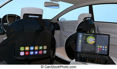 Self-driving SUV interior concept. Front seats with big LCD...