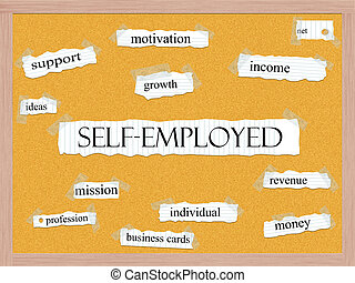 Self-Employed Corkboard Word Concept with great terms such...