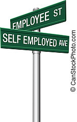 Self employed or employee street signs