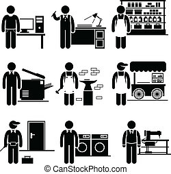 Self Employed Small Business Jobs - A set of human...