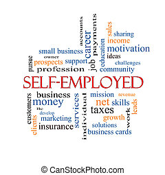 Self-Employed Word Cloud Concept with great terms such as...
