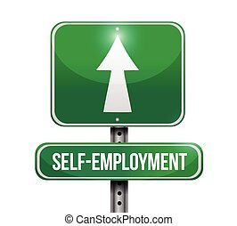 self employment road sign illustration design