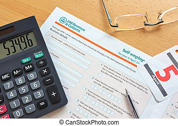 Self employment tax form - Photo of a UK self employment tax...