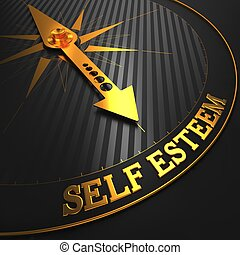 Self Esteem - Golden Compass Needle on a Black Field Pointing.
