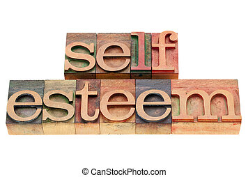 self esteem - isolated text in vintage wood letterpress printing blocks