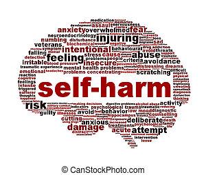 Self-harm mental health symbol isolated on white....