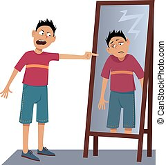 Self-hate - A negative person screaming at his own sad ...