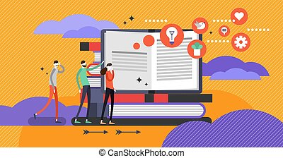 Self help book concept, flat vector illustration with open...