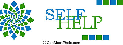 Self Help Green Blue Squares Horizontal - Self help text...
