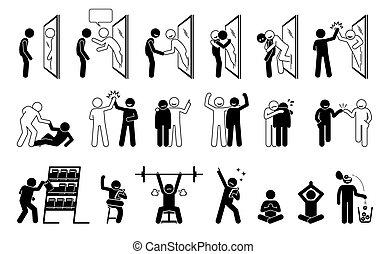 Self help metaphor in stick figure pictogram icons.