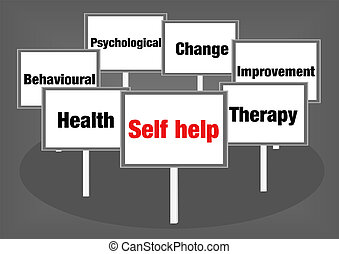 Self help signs - Self help concept illustration with signs...