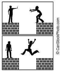 Self help strategy - Woman jumps over the gap without the...