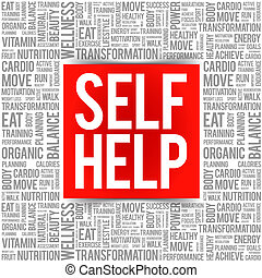 Self Help word cloud background, health concept
