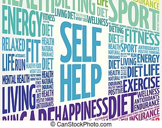Self Help word cloud collage, health concept background