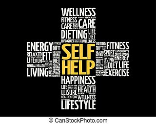 Self Help word cloud, health cross concept background