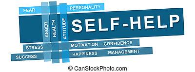 Self Help Wordcloud Blue Stripes - Self help concept image...