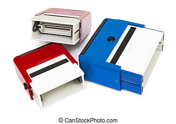 Self-ink rubber stamps on the white background