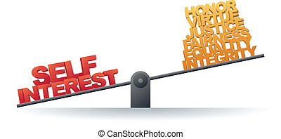 Self Interest Prevails - Scale favoring self interest rather...