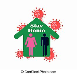 Stay home icon, quarantine self-isolation. Vector illustration, flat design. Coronavirus pandemic