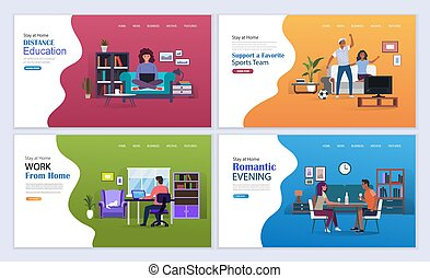 Work from home, online education, games and entertainment on self-isolation during coronavirus. Stay at home vector illustration concept. Landing page template.
