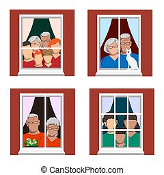 Families are at home isolation and are looking out the window. Stay home. Set of Vector Illustrations.