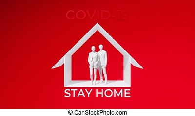 Abstract graphical concept of unrecognizable people family couple stay at home on self isolation in pandemic of COVID-19 virus. Taking precautions and home quarantine theme 3D animation rendered in 4K