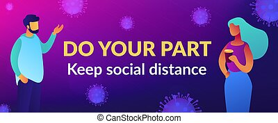 Do your part slogan, appeal. Keep social distance and self isolation during covid-2019 pandemic. Global qarantine, personal health protection measures community responsibility. Vector illustration.