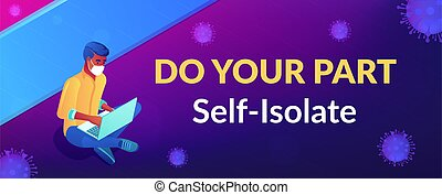 Do your part slogan, appeal. Social distancing and self isolation during covid-2019 pandemic. Global qarantine, personal health protection measures community responsibility. Vector illustration.