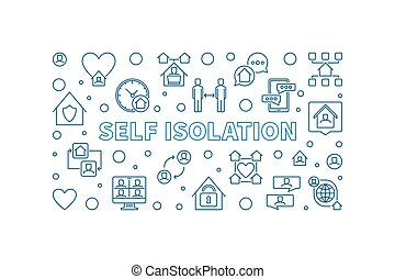 Self Isolation vector concept outline horizontal illustration or banner