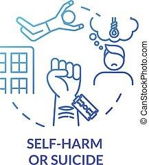 self-murder, self-harm, 傷害, 概念, アイコン