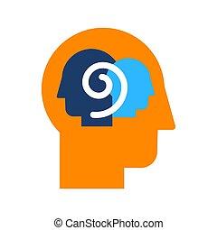 self-observation, introspection, plat, kleur, pictogram, vector