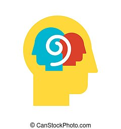 self-observation, pictogram, kleur, vector, plat, introspection