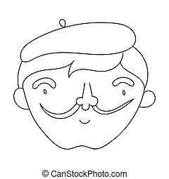Self-portrait of artist icon in outline style isolated on white background. Artist and drawing symbol stock bitmap, rastr illustration.