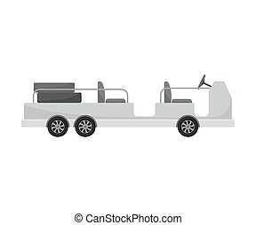 Self-propelled luggage trolley. Vector illustration on a ...