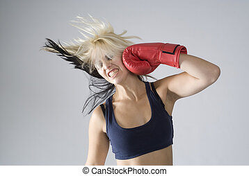 Self punishment woman boxer - Concept of woman punching...