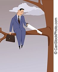 Self-sabotage - Depressed man sawing off a branch he is...