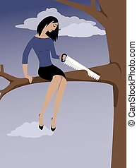 Self-sabotage - Woman sawing off a tree branch she is...